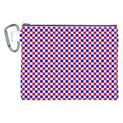 Blue Red Checkered Plaid Canvas Cosmetic Bag (XXL)