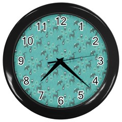 Animals Deer Owl Bird Grey Bear Blue Wall Clocks (Black)