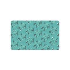Animals Deer Owl Bird Grey Bear Blue Magnet (Name Card)