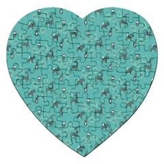 Animals Deer Owl Bird Grey Bear Blue Jigsaw Puzzle (Heart)