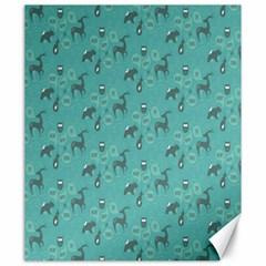 Animals Deer Owl Bird Grey Bear Blue Canvas 20  x 24