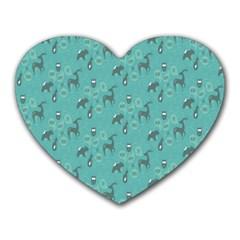 Animals Deer Owl Bird Grey Bear Blue Heart Mousepads