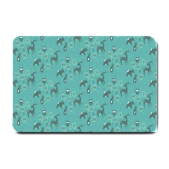 Animals Deer Owl Bird Grey Bear Blue Small Doormat