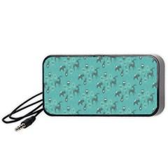 Animals Deer Owl Bird Grey Bear Blue Portable Speaker (Black)