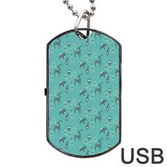 Animals Deer Owl Bird Grey Bear Blue Dog Tag USB Flash (One Side)