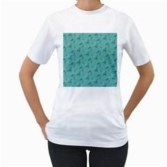 Animals Deer Owl Bird Grey Bear Blue Women s T-Shirt (White)