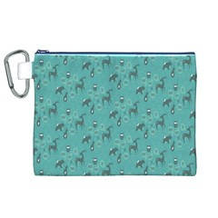Animals Deer Owl Bird Grey Bear Blue Canvas Cosmetic Bag (XL)