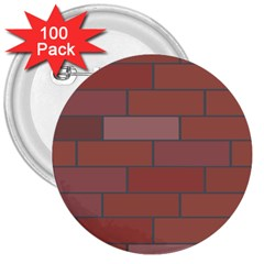 Brick Stone Brown 3  Buttons (100 pack)
