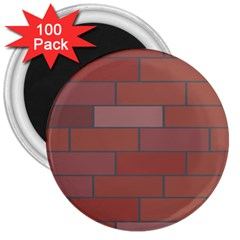 Brick Stone Brown 3  Magnets (100 pack)