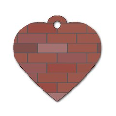 Brick Stone Brown Dog Tag Heart (Two Sides)