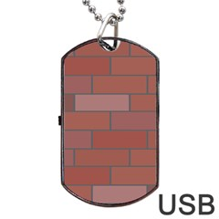 Brick Stone Brown Dog Tag USB Flash (Two Sides)