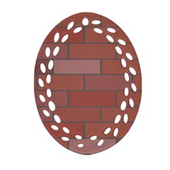 Brick Stone Brown Oval Filigree Ornament (Two Sides)