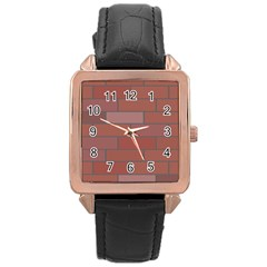 Brick Stone Brown Rose Gold Leather Watch