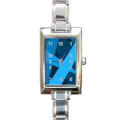 Blue Flag Rectangle Italian Charm Watch