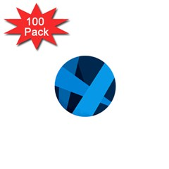 Blue Flag 1  Mini Buttons (100 pack)