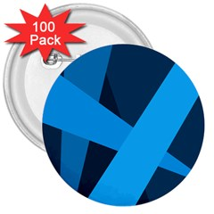 Blue Flag 3  Buttons (100 pack)