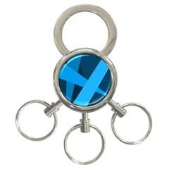 Blue Flag 3-Ring Key Chains