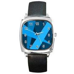 Blue Flag Square Metal Watch