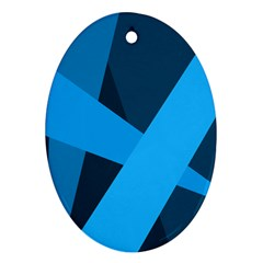 Blue Flag Oval Ornament (Two Sides)