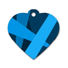 Blue Flag Dog Tag Heart (Two Sides)