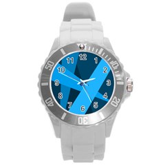 Blue Flag Round Plastic Sport Watch (L)