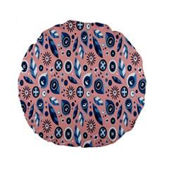 Bird Feathers Circle Sun Flower Floral Purple Pink Standard 15  Premium Flano Round Cushions
