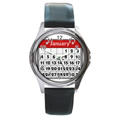 Calendar Clip January Round Metal Watch
