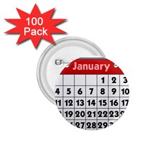 Calendar Clip January 1.75  Buttons (100 pack)
