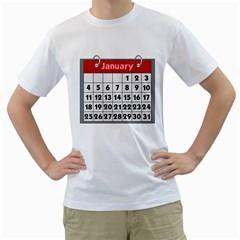 Calendar Clip January Men s T-Shirt (White) (Two Sided)