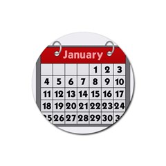 Calendar Clip January Rubber Round Coaster (4 pack)