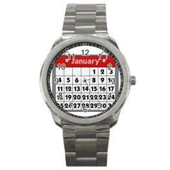 Calendar Clip January Sport Metal Watch