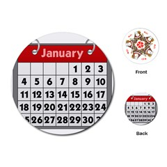 Calendar Clip January Playing Cards (Round)