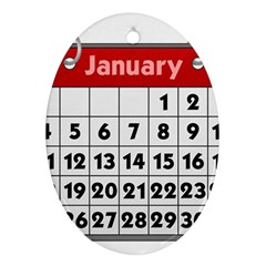 Calendar Clip January Oval Ornament (Two Sides)