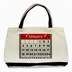 Calendar Clip January Basic Tote Bag (two Sides)
