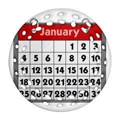 Calendar Clip January Round Filigree Ornament (Two Sides)