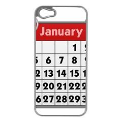 Calendar Clip January Apple iPhone 5 Case (Silver)