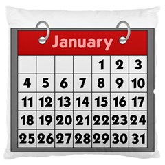 Calendar Clip January Large Flano Cushion Case (Two Sides)