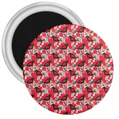 Birds Seamless Cute Birds Pattern Cute Red 3  Magnets