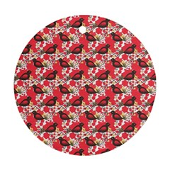 Birds Seamless Cute Birds Pattern Cute Red Ornament (Round)