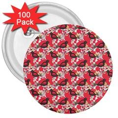 Birds Seamless Cute Birds Pattern Cute Red 3  Buttons (100 pack)