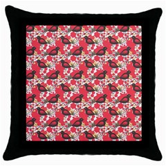 Birds Seamless Cute Birds Pattern Cute Red Throw Pillow Case (Black)