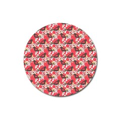 Birds Seamless Cute Birds Pattern Cute Red Magnet 3  (Round)