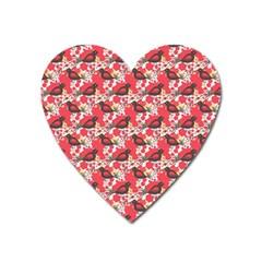 Birds Seamless Cute Birds Pattern Cute Red Heart Magnet