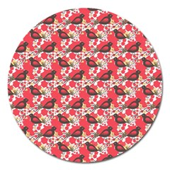 Birds Seamless Cute Birds Pattern Cute Red Magnet 5  (Round)