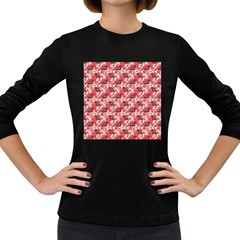 Birds Seamless Cute Birds Pattern Cute Red Women s Long Sleeve Dark T-Shirts