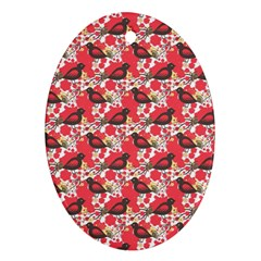 Birds Seamless Cute Birds Pattern Cute Red Oval Ornament (Two Sides)