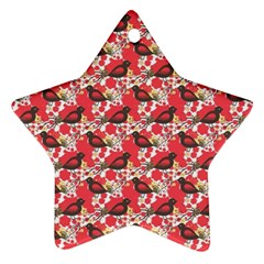 Birds Seamless Cute Birds Pattern Cute Red Star Ornament (Two Sides)