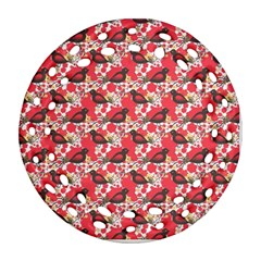 Birds Seamless Cute Birds Pattern Cute Red Round Filigree Ornament (Two Sides)