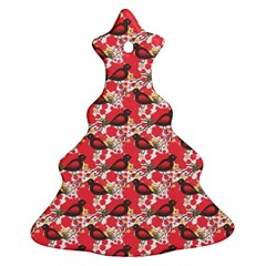 Birds Seamless Cute Birds Pattern Cute Red Christmas Tree Ornament (Two Sides)