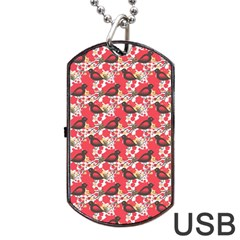 Birds Seamless Cute Birds Pattern Cute Red Dog Tag USB Flash (Two Sides)